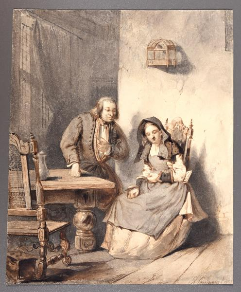 - CRAEYVANGER, Reinier Domestic interior scene. Utrecht, 1837 Drawing, watercolour, [...]