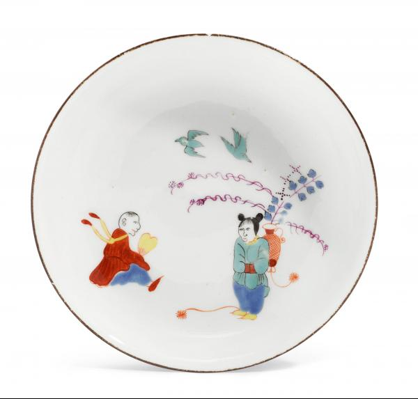 SAUCER WITH RARE KAKIEMON DECORATION  - Meissen, ca. 1730-35.  - After a Japanese [...]