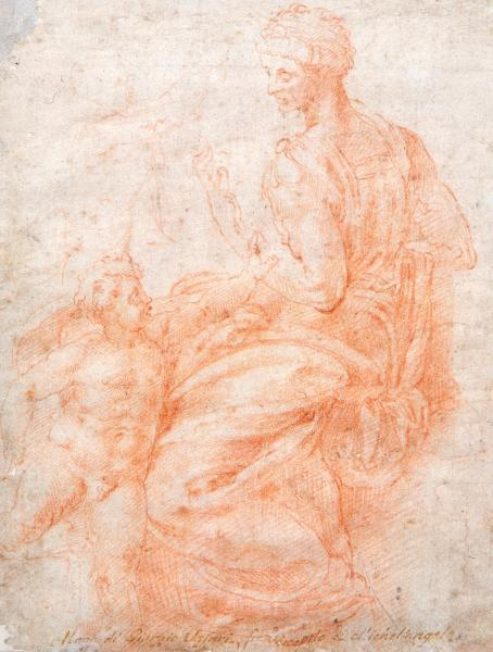 Italian School (16th Century) A study of a mother and her child sanguine on paper, [...]