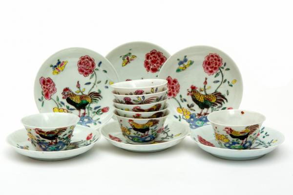 Six famille rose cockerel cups and saucers, Yongzheng/Qianlong period, 18th century, [...]