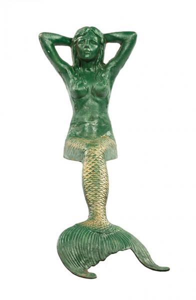 Decorative Cast Iron Garden Figure of a Reclining Mermaid , h. 40 1/2 in., w. 13 1/2 [...]