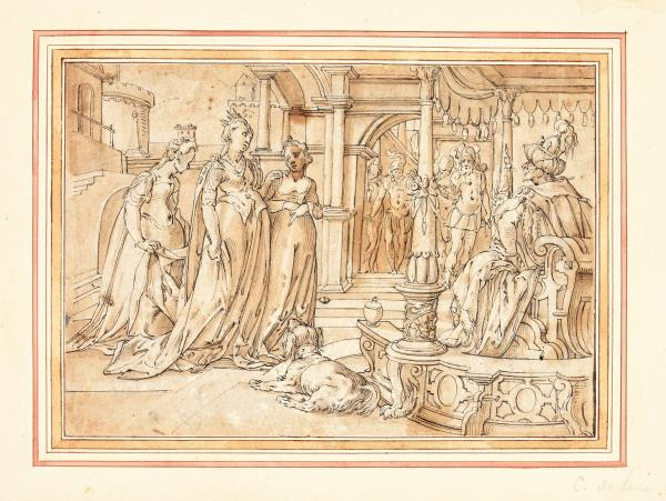 (German school) - Attributed to AMMAN, Jost Esther before Ahasuerus. Drawing, pen and [...]