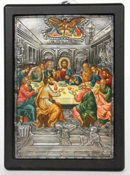 THE LAST SUPPER Greece, 20th century Copy of a Byzantine icon with a finely painted scene