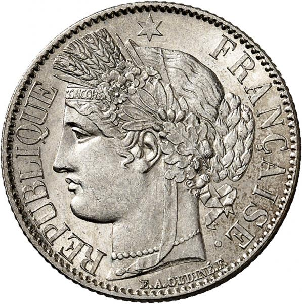 FRANCE  - II° République (1848-1852). 1 franc 1849 A, Paris.  - Av. Tête de [...]