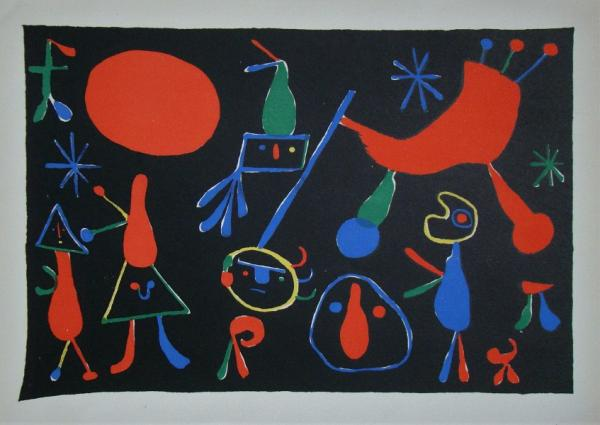 Joan Miro Characters and figures, 1949  Stencil in colours on wove paper, [...]