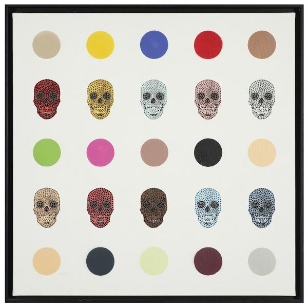 GULLY (né en 1977)   - HIRST DIAMOND SKULLS, 2013  - Technique mixte sur toile  - [...]