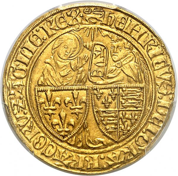 FRANCE  - Henri VI d'Angleterre (1422-1453). Salut d'or seconde émission, Rouen. [...]