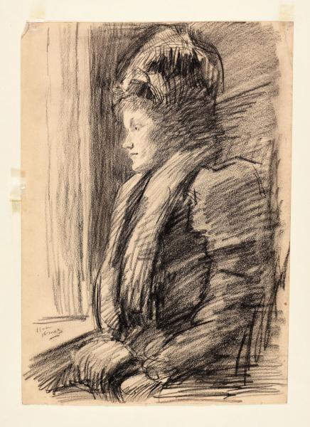 - ISRAËLS, Isaac Lazarus Young woman in winter clothing, dreaming in front of a [...]