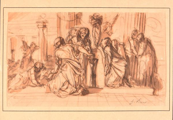 - PICOU, Henri-Pierre Sacrifice to Amor. C. 1850-1895 Drawing, pencil, pen and brown [...]
