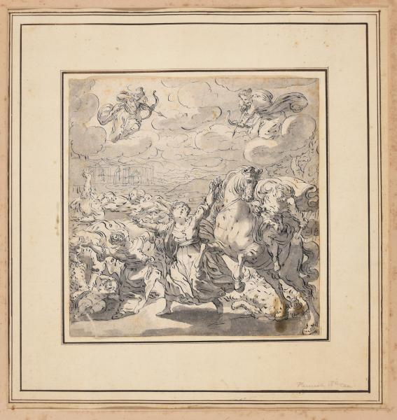 (Flemish or German school) - The death of the Niobids. First half 18th c Drawing, pen [...]