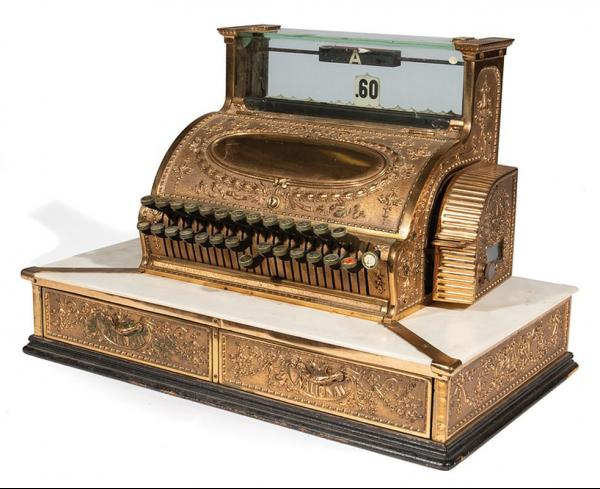 Antique American Brass and Marble Cash Register , c. 1905, National Cash Register [...]