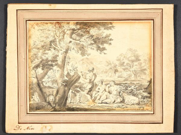 (Flemish school) - After Franciscus II DE NEVE Landscape with shepherds, goat and a [...]