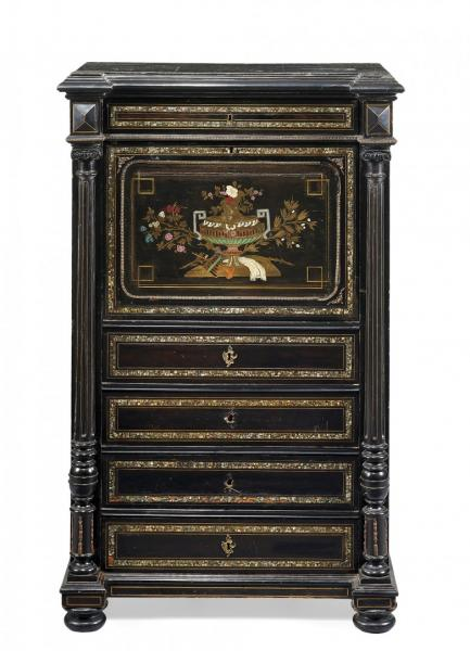 SÉCRETAIRE  SECOND HALF OF 19TH CENTURY  - Ebonized wood with brass, mother of [...]