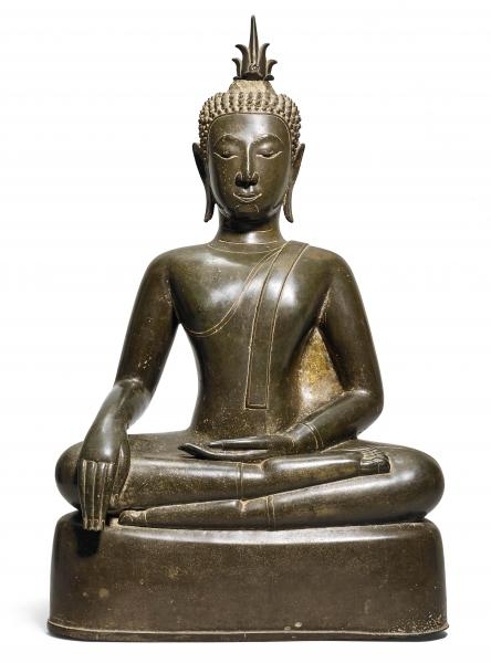 A BRONZE FIGURE OF THE SEATED BUDDHA.  - Thailand or Laos, ca. 15th c. Height 68.5 [...]