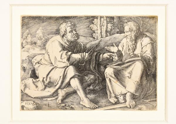 (Dutch) - VAN LEYDEN, Lucas Sts Peter and Paul seated in a landscape. Leiden, 1527 [...]