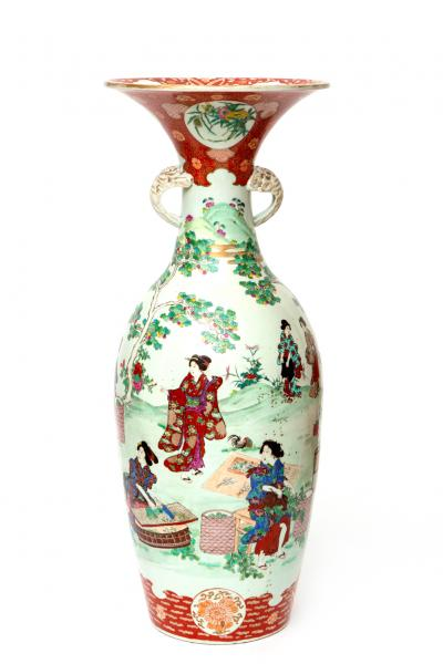 A large Japanese Arita porcelain vase with figures, Ca. late 19th century, Japan, A [...]