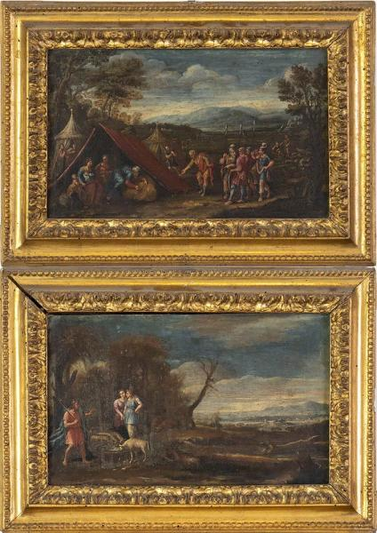 FRENCH ARTIST ACTIVE IN ITALY, 17th CENTURY (MONSU LORENESE?) - Couple of paintings [...]
