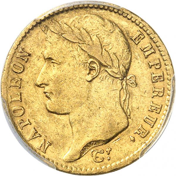FRANCE  - Premier Empire (1804-1814). 20 francs or 1809 U, Turin.  - Av. Tête [...]