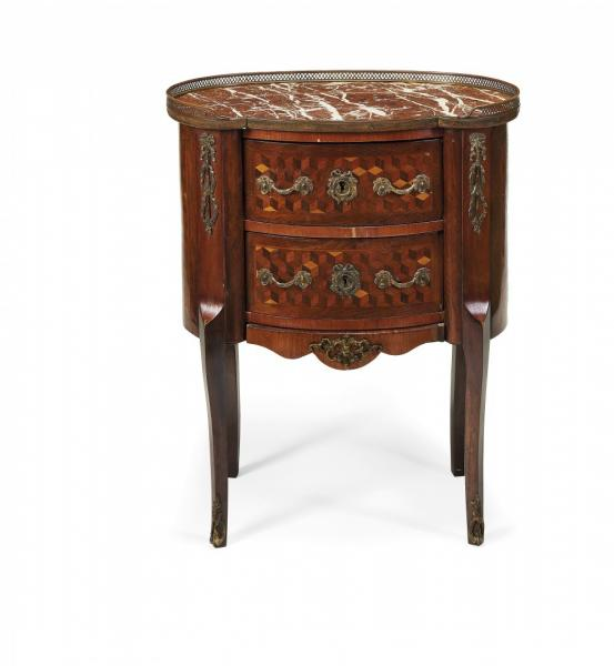 OVAL BEDSIDE COMMODE - Oval bedside commode  19th Century Marqueterie inlaid, with [...]