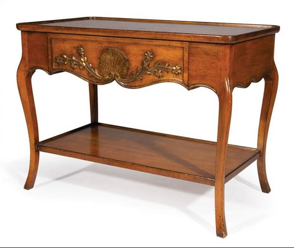 French Provincial Gilt Decorated Fruitwood Occasional Table , dished top, shell and [...]