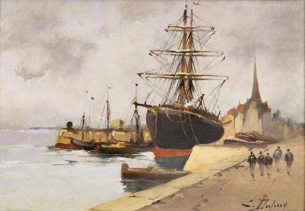 Galien-Laloue, Eugène(Paris 1854 - Cherence 1941)Port in NormandyOil/wood, 16 x 22 [...]