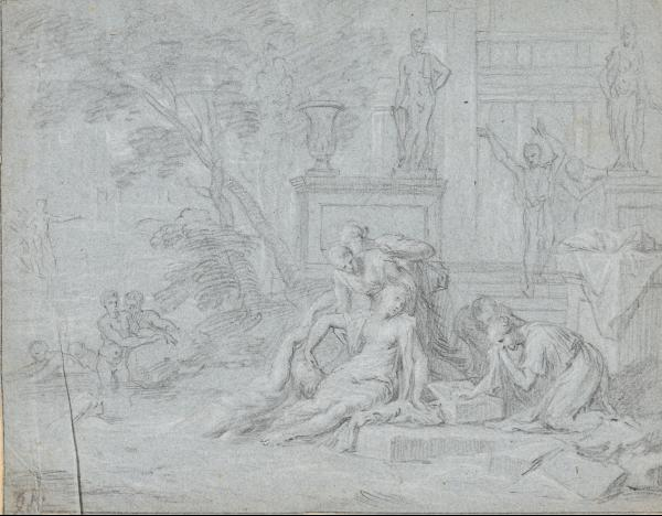 (Dutch or Flemish school) - 4 drawings. 17th c Various techniques, sizes and [...]