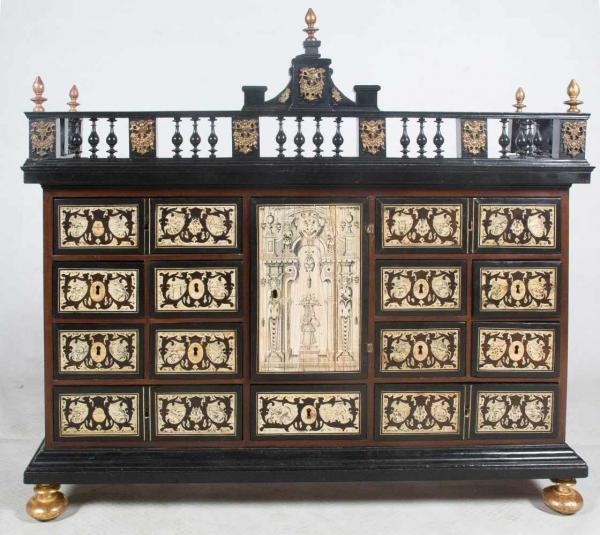 Ebonesid wooden bargueno chest with ivory pyrography plaques. 17th – 18th century.