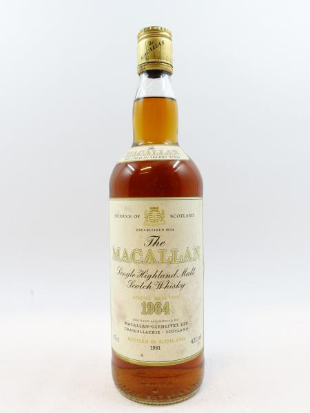 1 bouteille WHISKY THE MACALLAN 1964 18 years old. Bottled 1981. Single Highland [...]