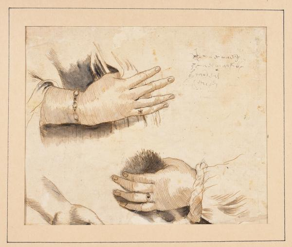 (Flemish school) - Study of Hands. 17th c Drawing, pen in brown ink and grey wash, 17 [...]