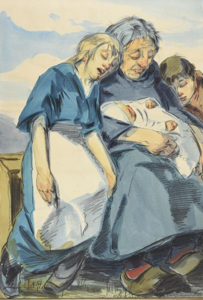 - OST, Alfred Poor family. 1916 Watercolour, vellum paper, 52 x 36 cm visible part; [...]