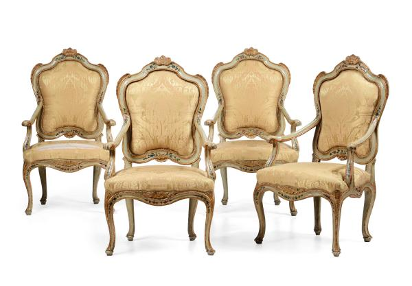 Four Louis XV armchairs, Venice, 1700s - Carved and lacquered wood, polychrome floral [...]