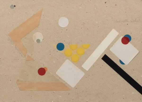 Marcelle CAHN (1895-1981)   - Composition   - Collages, gommettes sur papier signé [...]