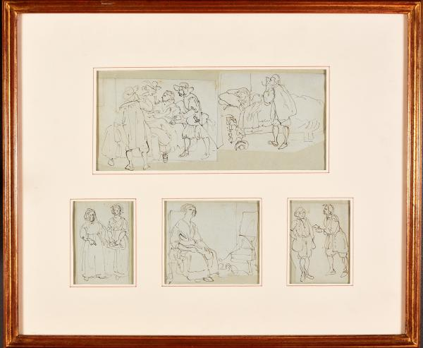 (English school ?) - 5 sketches. 18th c Drawings, brown ink, c. 8 x 10 cm (visible [...]