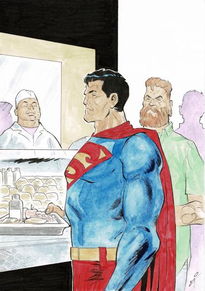 Eric Godeau - Superman, illustration à l'encre de chine et à l'aquarelle. [...]
