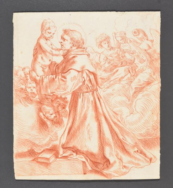 (Flemish school) - St Anthony of Padua holding Christ. 17th c Drawing, red chalk [...]