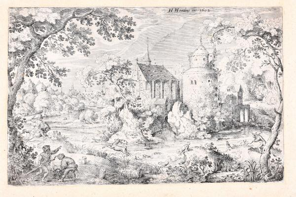 (Dutch) - SAVERIJ, Jacob I Dear hunt in a swamp before a chapel and tower. [The [...]