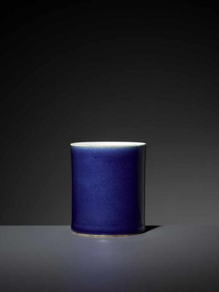 A MONOCHROME BLUE GLAZED BITONG, KANGXI China, 1662-1722. Of slightly waisted [...]