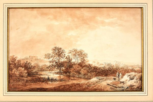 (Austrian school) - VON MOLITOR, Martin Romantic landscape with strollers. Drawing, [...]