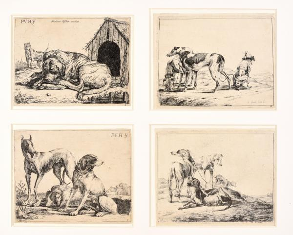 (Dutch) - VAN HILLEGAERT, Paulus; JONCKHEER, Jacob Four etchings with dogs. [...]