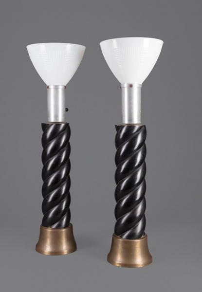 Pair of Ebonized Wood, Brass and Aluminum Lamps Attributed to James Mont [...]