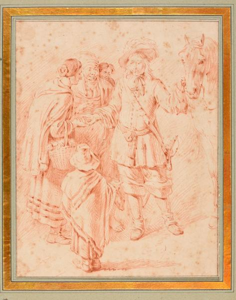 (Flemish school) - The fortune teller. 17th c Drawing, red chalk, 23,6 x 18,7 cm, [...]