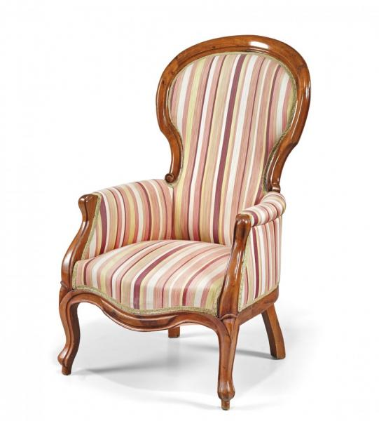 OAK WOOD BERGÈRE  19TH CENTURY  - Shaped, upholstered in striped fabric. 40.9 x 24.4 [...]