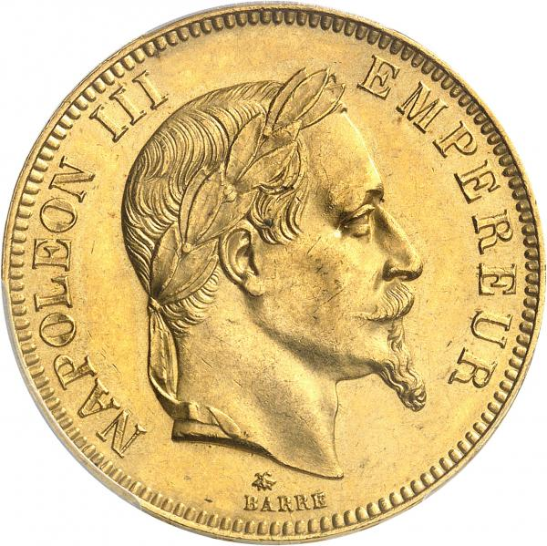 FRANCE  - Napoléon III (1852-1870). 100 francs or 1868 A, Paris.  - Av. Tête [...]