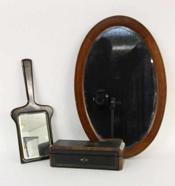 ''TWO WALL MIRRORS AND A BOX Height of the mirrors approx. 42 and 57 cmKeywords:
