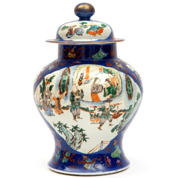 A famille verte covered vase on a blue ground, 19th century, China, Two large and [...]