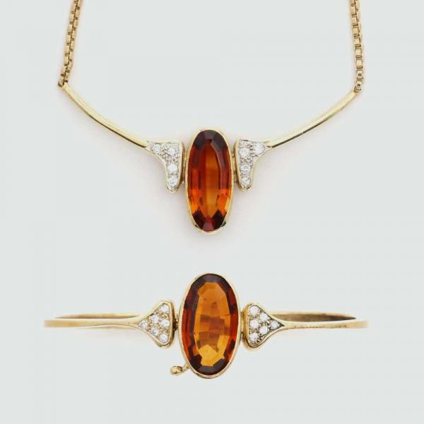 CITRINE AND DIAMOND JEWELLERY SET