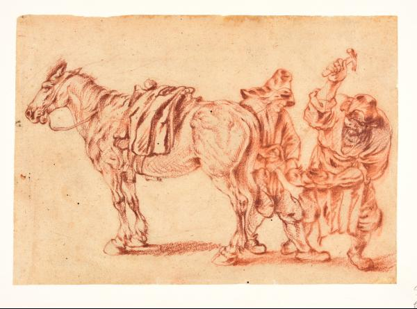 (Dutch school) - Circle of STOOP, Dirck Horse with a shoeing-smith. Ca. 1640-1680 [...]