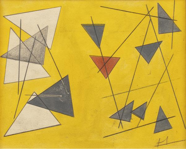 Jean SIGNOVERT (Paris 1919 - 1981)   - Composition aux triangles   - Aquarelle et [...]