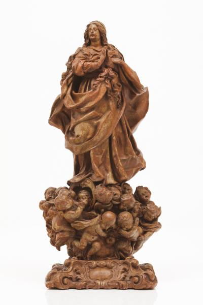 The Virgin of the Assumption  - Terracotta sculpture On a cloud with putti on a [...]