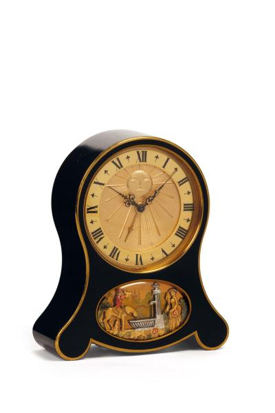 JAEGER, Swiss. Fine and unusual eight-day going, musical alarm clock with automaton [...]